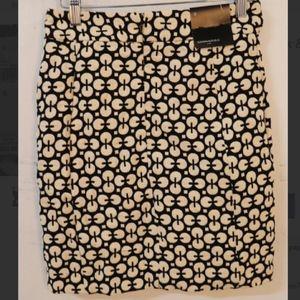 NWT Banana Republic Pencil Skirt, Black & Ivory, 0